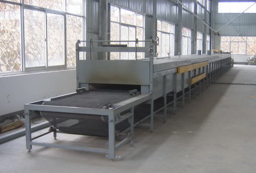Continuous glass heat bending, melting furnace