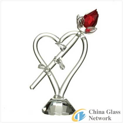 glass rose figurine