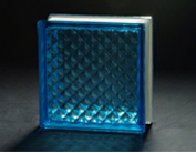 Blue Lattice Glass Block