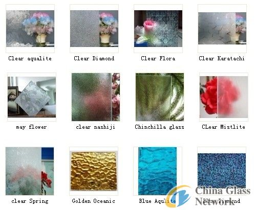 3-8mm Figured glass with various patterns