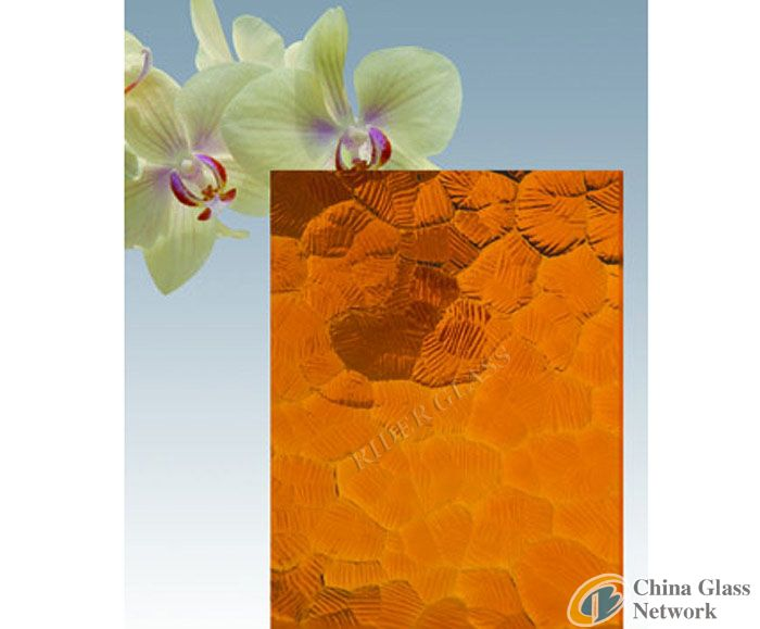 3-8mm Amber Oceanic Patterned Glass with CE & ISO9001