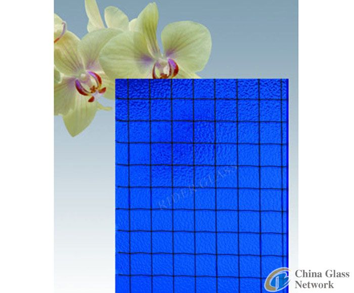 6-7mm Blue Wired Glass with CE & ISO9001