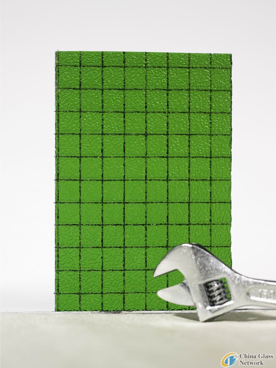 6mm Green Wired Patterned Glass