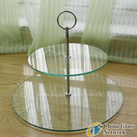 High quality of 2 tiers tempered glass cake plate