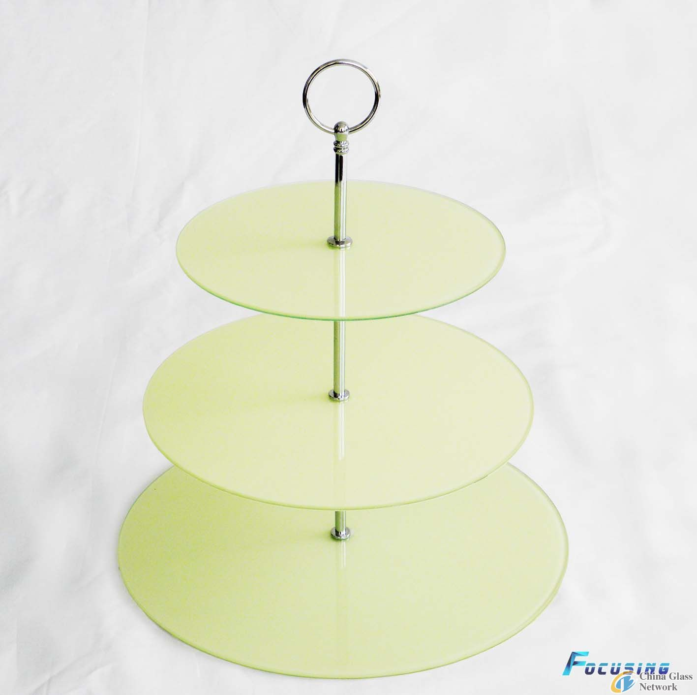 3 tier tempered /toughened glass cake stand with white colour