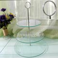 high quality of tempered glass cake stand/ cake plate