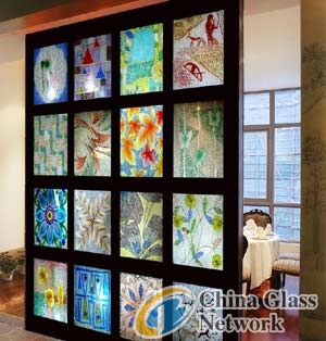 sell art glass/engraved glass-partition wall