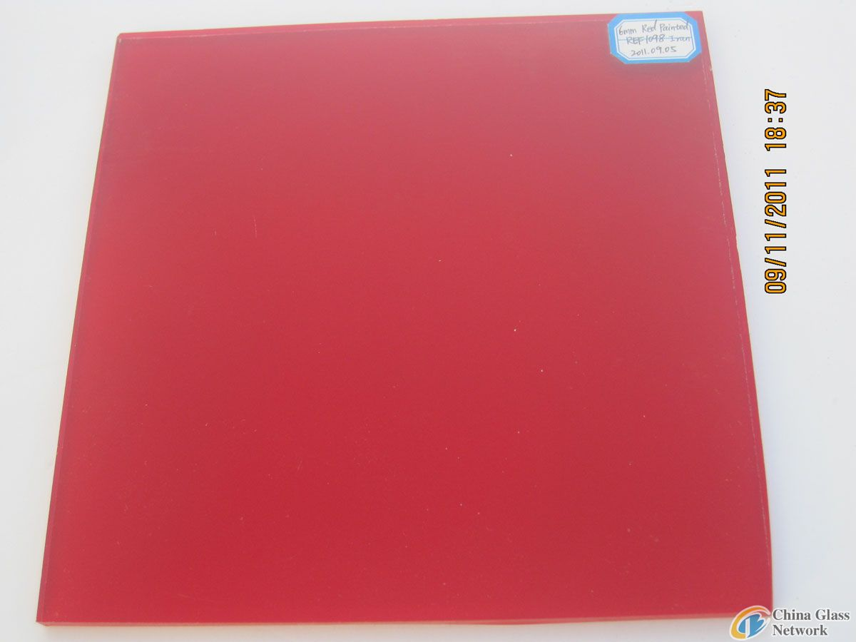 RED PAINTED GLASS WITH SAFETY VINYL BACK (CSI CERTIFICATION: AS/NZS 2208:1996