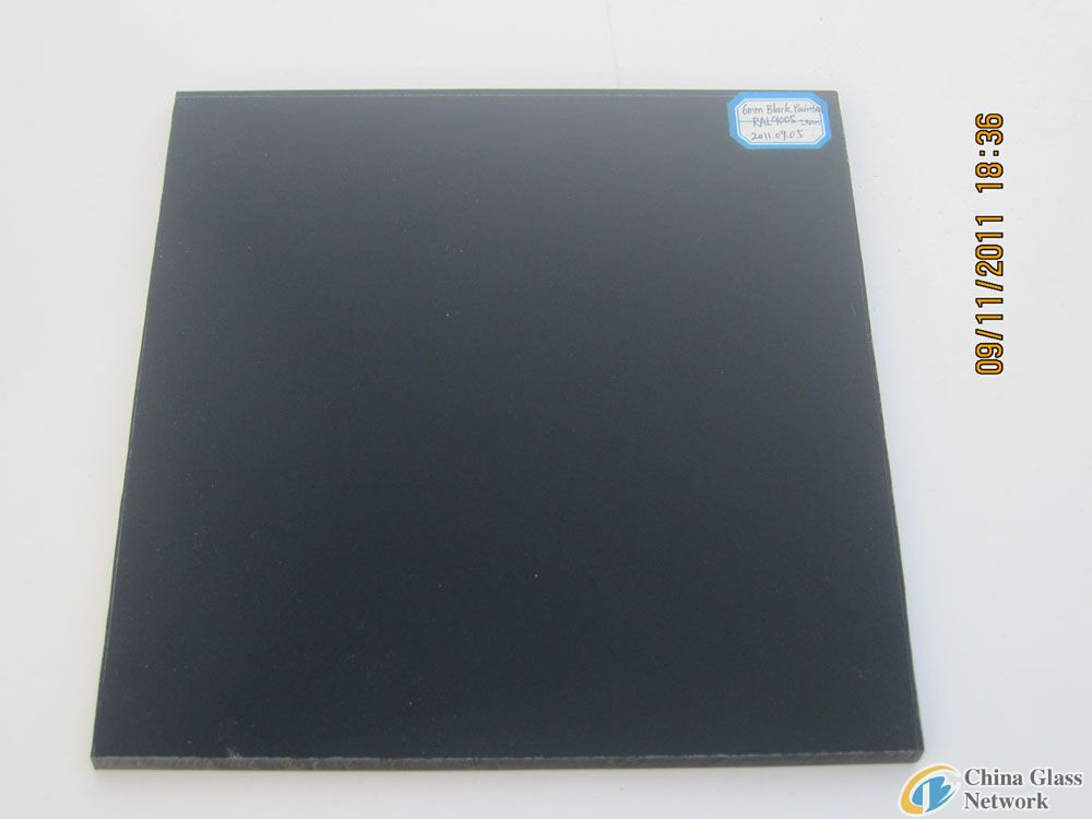 BLACK PAINTED GLASS RAL9005 WITH SAFETY VINYL BACK (CSI CERTIFICATION: AS/NZS 2208:1996