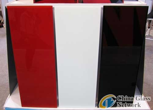 colorful painted glass/ red white black paint coated glass