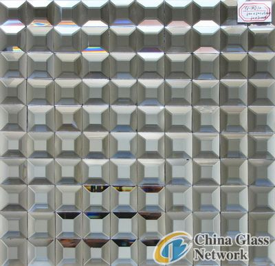 Gray Color Beveled Mirror Glass Mosaic For Hotel Villa Home Decoration