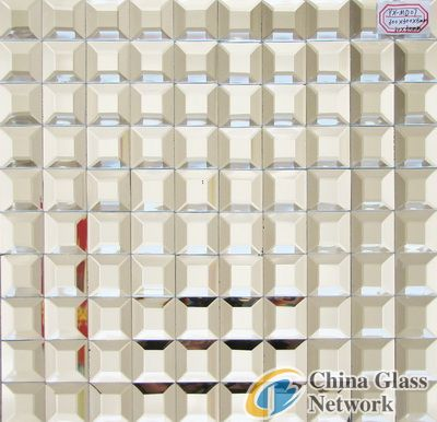 Silver Color Beveled Mirror Glass Mosaic For Wall Panel Tile