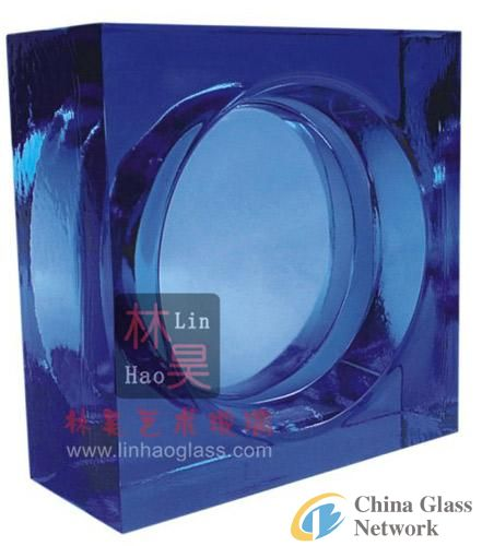 sell bule solid glass block for interior and exterior decoration