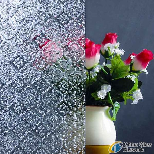 Clear flora patterned glass