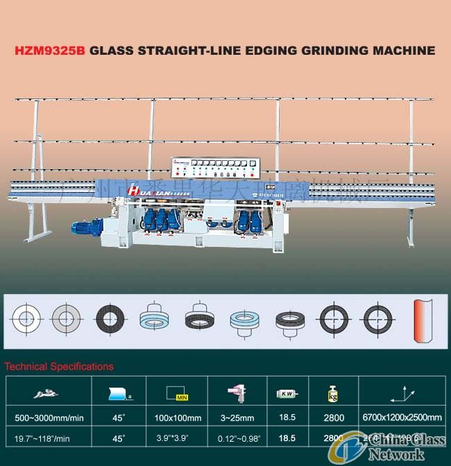 HZM9325B Glass straight-line edging grinding machine Glass machine