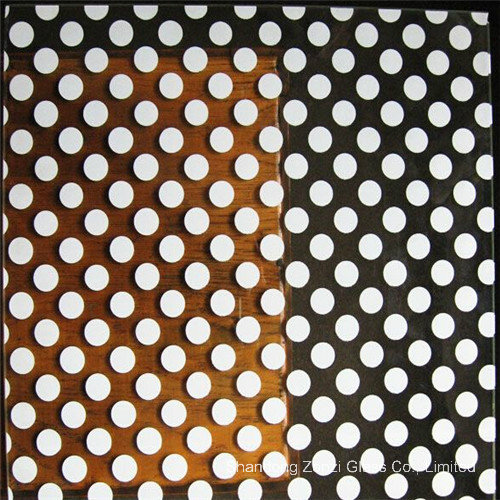Colored Silk Screened Glass with DOT Line Pattern