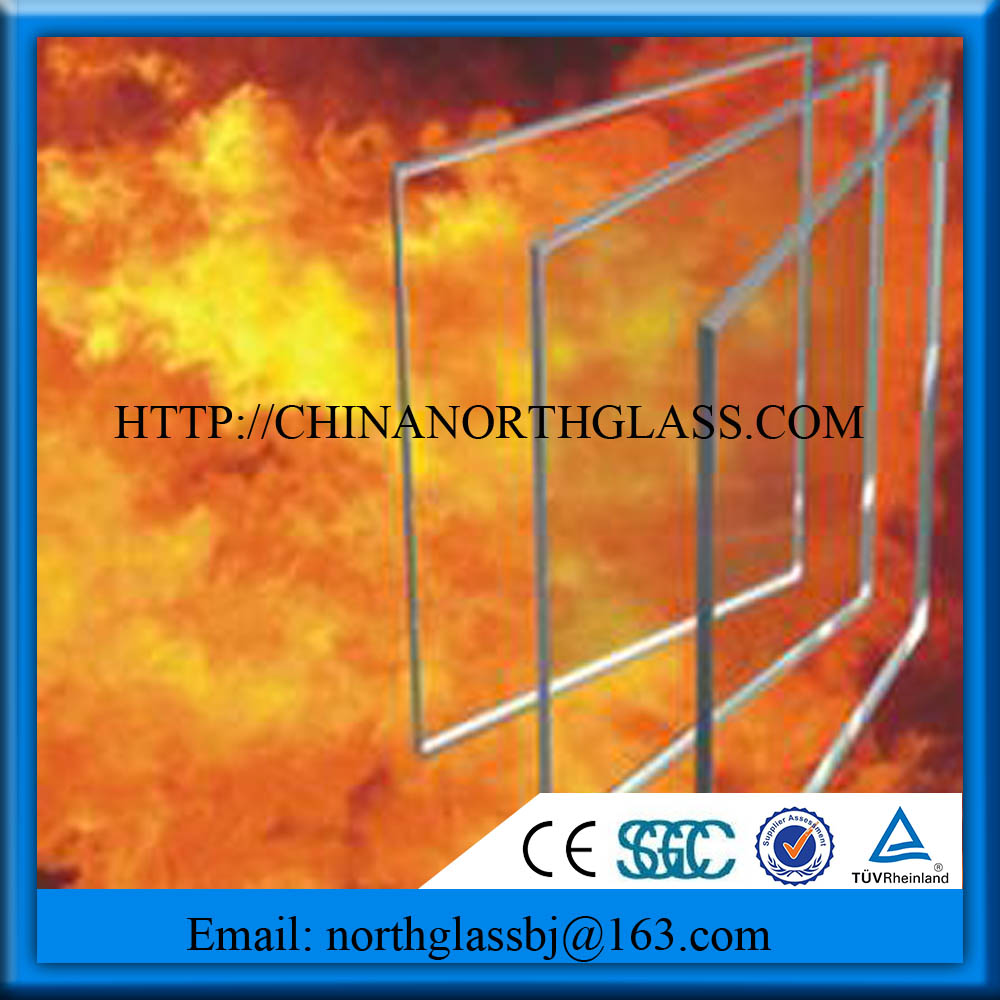clear tempered fire proof glass
