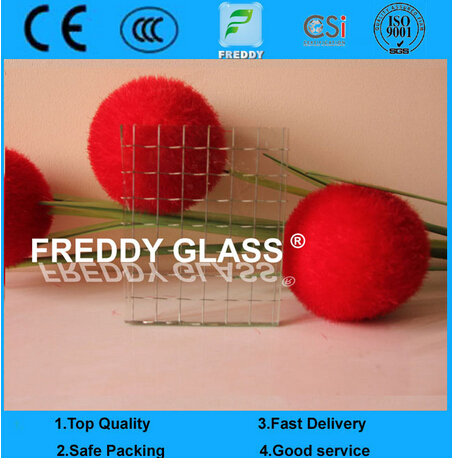 Clear Rhombus Wired Glass/Clear Lozenge Wired Patterned Glass/Rhomb Fire Retardant Glass/Fire Retard