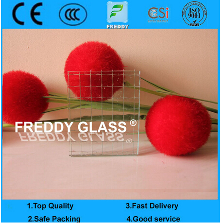 Traditional Wired Glass/6mm Clear Wired Glass/ Rolled Glass/ Patterned Glass
