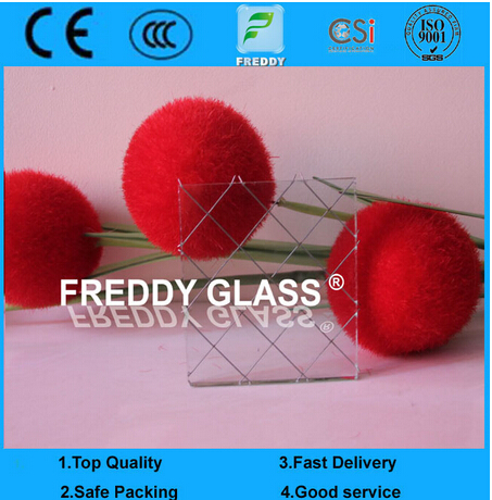 High Quality Clear Wired Pattern Glass Nashiji Glass