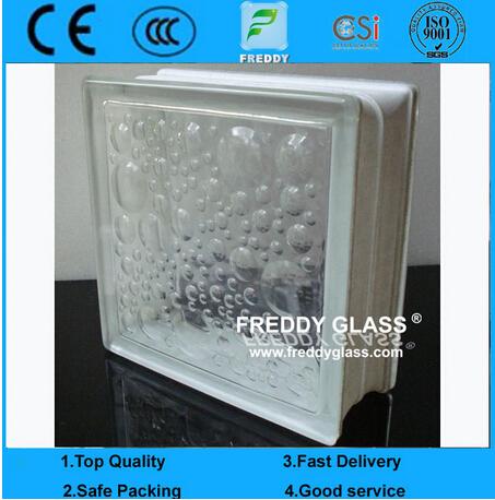 Green/Blue/Clear Satefy Well Shaped Pattern Glass Block/Glass Brick/Corner Block