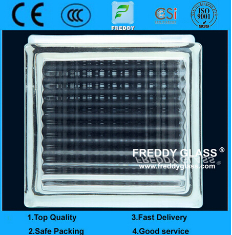 Blue/Green/Clear Crystal Parallel Patterned Glass Block/Brick Glass for Decoration (G-B)