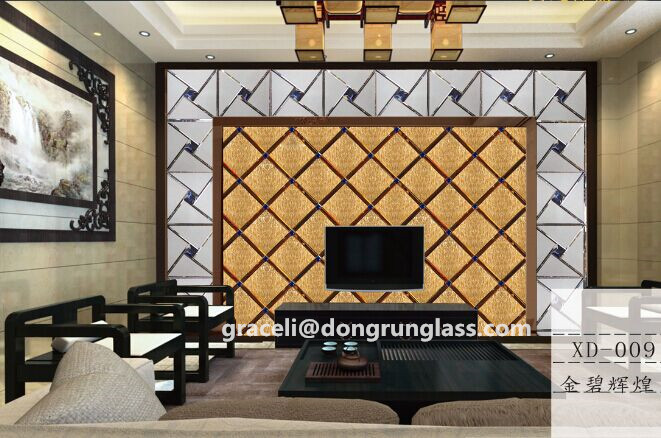 Hot sale !!! Beautiful Art decorative TV wall backgrouns glass