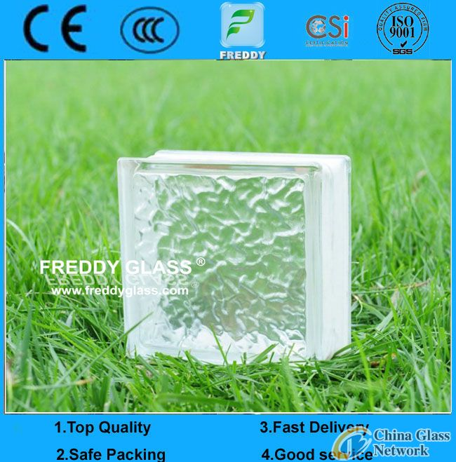 190*190*80mm Clear Patterned Glass Block/Glass Brick/Shoulder Block/Corner Block