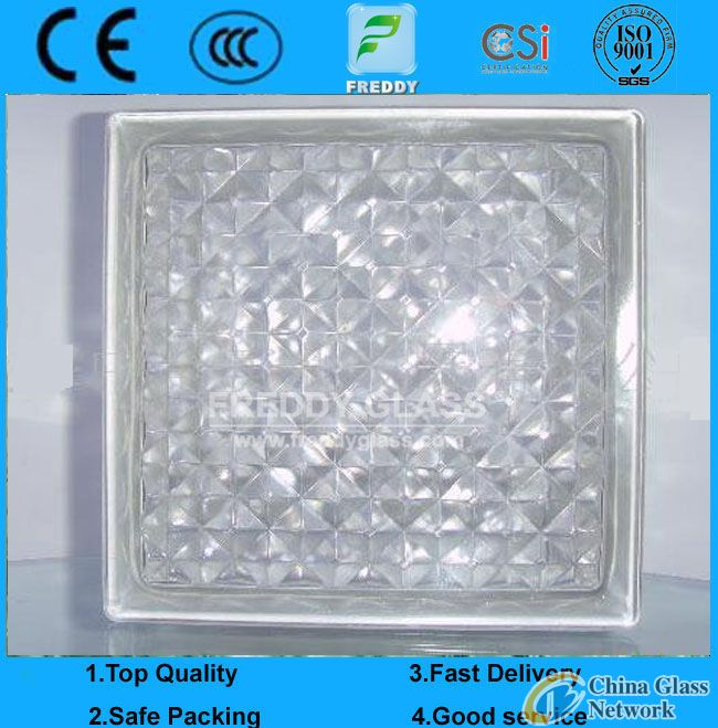 190*190*80mm Colored Glass Block/End Block/Glass Brick/Shoulder Block/Glass Block for decoration