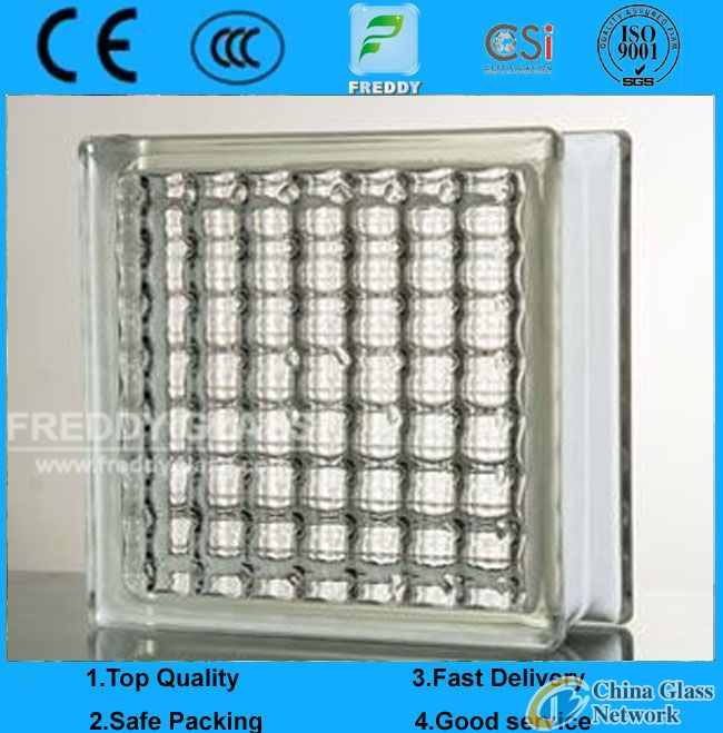 Clear Parallel Patterned Glass Block/Brick Glass for Decoration