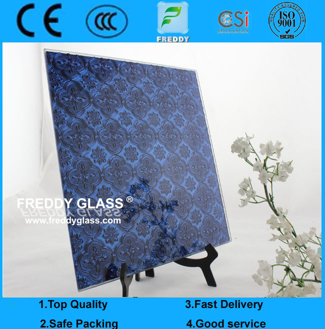 3mm Blue Flora Patterned  Glass