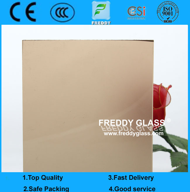 5mm Single Side Bronze Frosted Glass with non-figure print