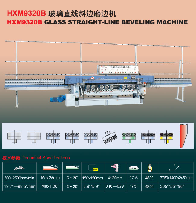 9 Spindle Glass Straight Line Beveling Machine TN9