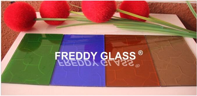 Colored Figured Glass with Karatachi Pattern/Good Quality Glass