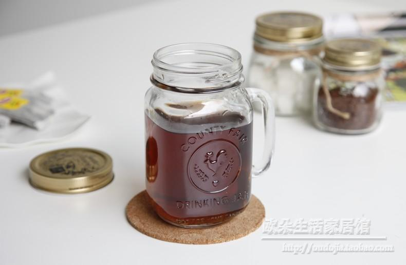 16oz Glass Mason Jar With Handle