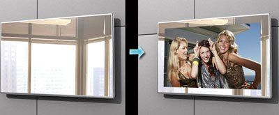 Mirror TV with defogger demister pad