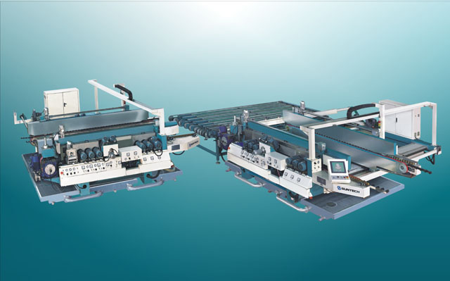 GLASS STRAIGHT LINE DOUBLE EDGER PRODUCTION LINE WITH L AUTOMATIC TRANSFER TABLE