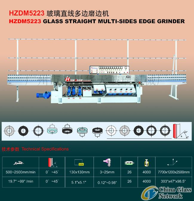 HZDM SERIES GLASS STRAIGHT MULTI-SIDES EDGE GRINDER