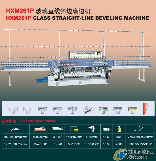 HXM SERIES GLASS STRAIGHT-LINE BEVELING MACHINE