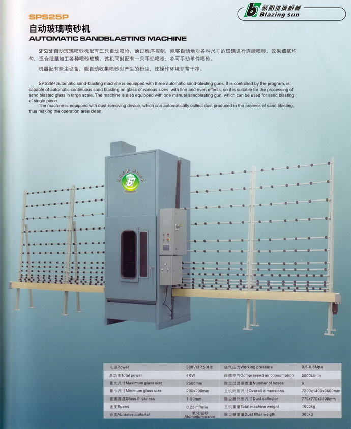 AUOTMATICAL VERTICAL GLASS SAND BLASTING MACHINE