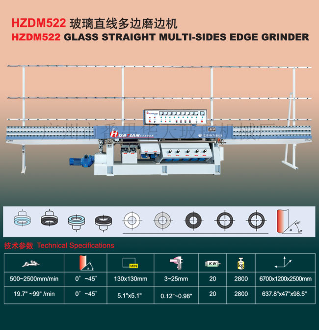 HZDM522 Glass straight multi-sides edge grinder