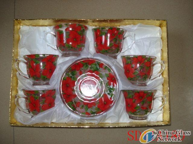 Rose glass cup & saucer
