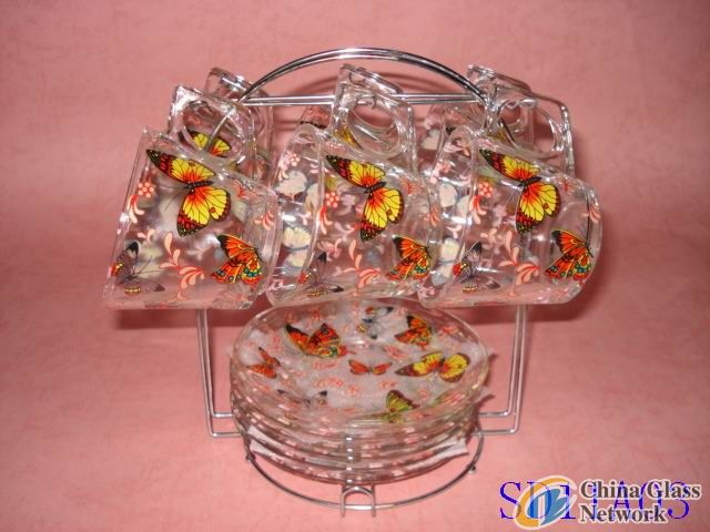 Butterfly Glass cup & saucer