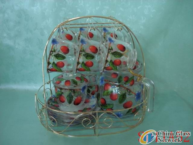 Cherry glass cup & saucer