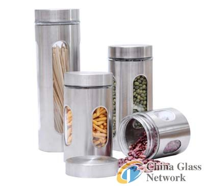 4pc Glass Canister Set w/ Window in Stainless