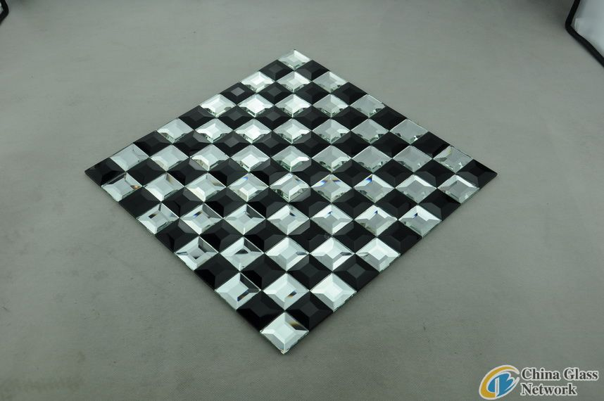 Black mix White Beveled Mirror Glass Mosaic Tile
