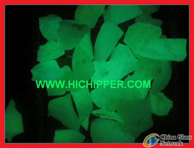 Glow in Dark Yellow Green Glass Chips