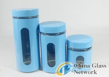 3 pcs Red Window Glass Canister