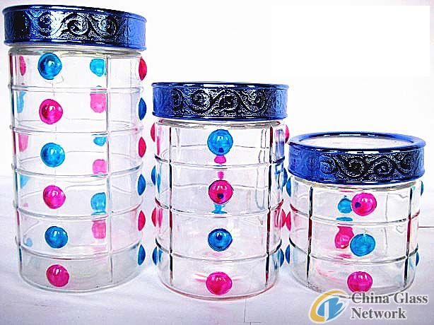 Hand-painted Glass Food Jars/Glass Canisters
