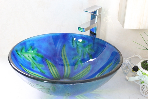 hand painted Glass basin set n-255
